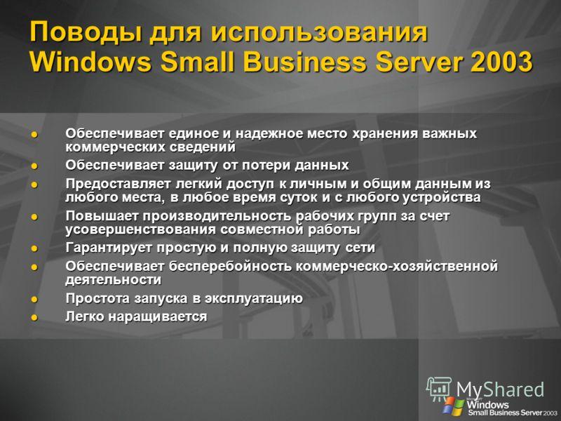 Поводы для использования Windows Small Business Server 2003 Обеспечивает единое и надежное место хранения важных коммерческих сведений Обеспечивает единое и надежное место хранения важных коммерческих сведений Обеспечивает защиту от потери данных Обе