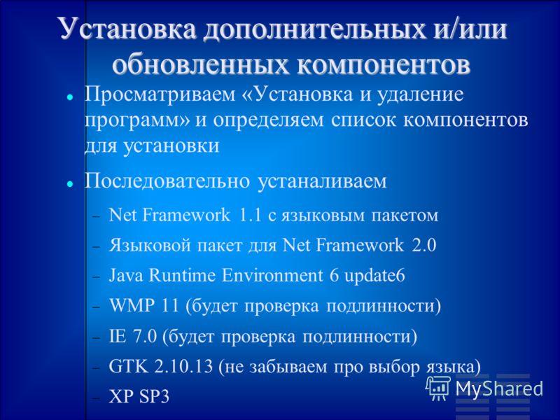 Установка дополнительных и/или обновленных компонентов Просматриваем «Установка и удаление программ» и определяем список компонентов для установки Последовательно устаналиваем Net Framework 1.1 с языковым пакетом Языковой пакет для Net Framework 2.0