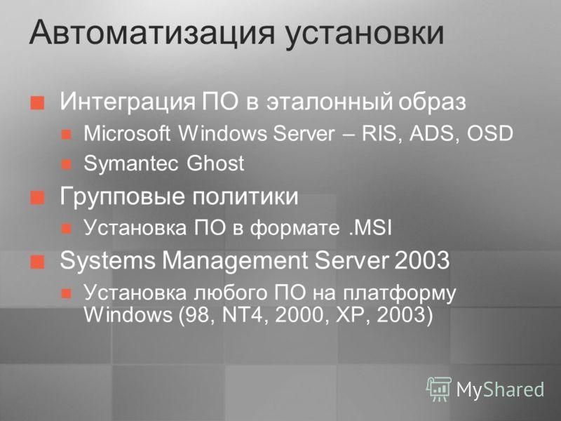 Автоматизация установки Интеграция ПО в эталонный образ Microsoft Windows Server – RIS, ADS, OSD Symantec Ghost Групповые политики Установка ПО в формате.MSI Systems Management Server 2003 Установка любого ПО на платформу Windows (98, NT4, 2000, XP,
