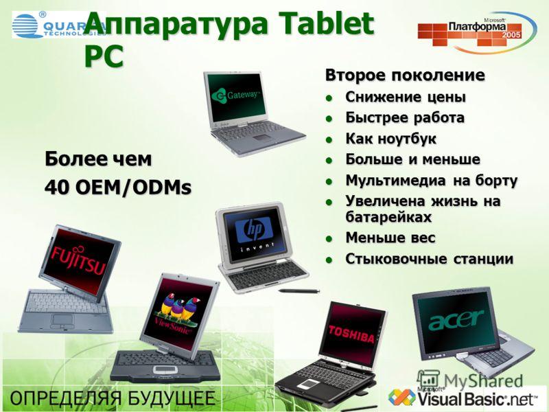 Аппаратура Tablet PC Более чем 40 OEM/ODMs Второе поколение Снижение цены Снижение цены Быстрее работа Быстрее работа Как ноутбук Как ноутбук Больше и меньше Больше и меньше Мультимедиа на борту Мультимедиа на борту Увеличена жизнь на батарейках Увел