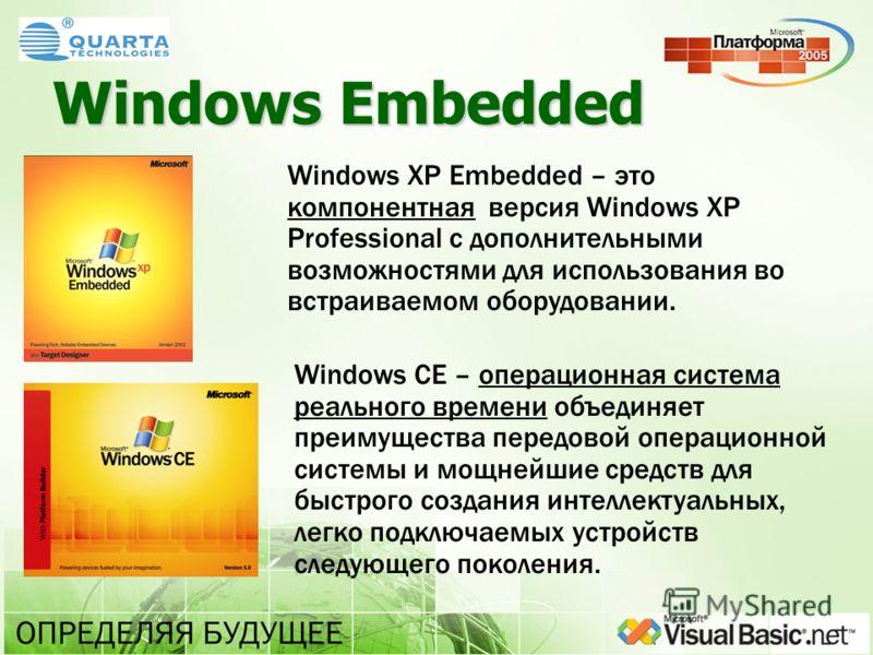 Windows Embedded Windows XP Embedded – это компонентная версия Windows XP Professional с дополнительными возможностями для использования во встраиваемом оборудовании. Windows CE – операционная система реального времени объединяет преимущества передов