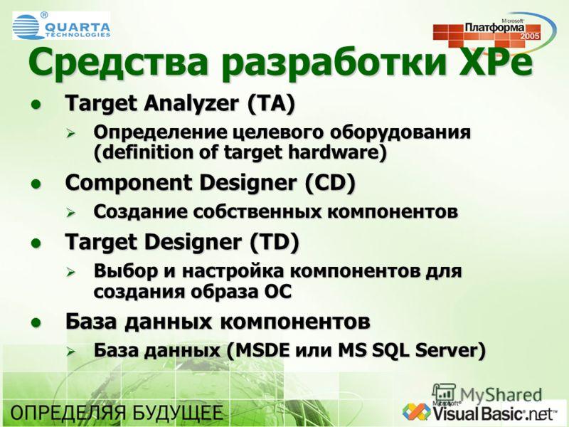 Средства разработки XPe Target Analyzer (TA) Target Analyzer (TA) Определение целевого оборудования (definition of target hardware) Определение целевого оборудования (definition of target hardware) Component Designer (CD) Component Designer (CD) Созд