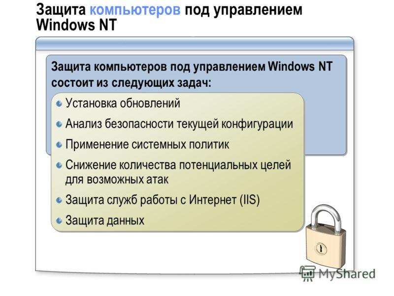 Защита компьютеров под управлением Windows NT Защита компьютеров под управлением Windows NT состоит из следующих задач: Установка обновлений Анализ безопасности текущей конфигурации Применение системных политик Снижение количества потенциальных целей