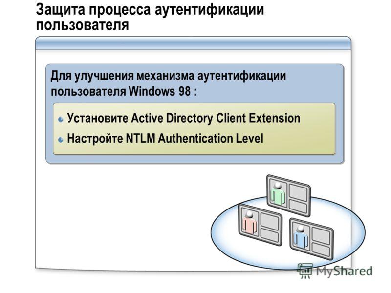 Защита процесса аутентификации пользователя Для улучшения механизма аутентификации пользователя Windows 98 : Установите Active Directory Client Extension Настройте NTLM Authentication Level Установите Active Directory Client Extension Настройте NTLM