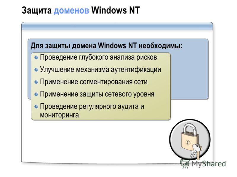Защита доменов Windows NT Для защиты домена Windows NT необходимы: Проведение глубокого анализа рисков Улучшение механизма аутентификации Применение сегментирования сети Применение защиты сетевого уровня Проведение регулярного аудита и мониторинга Пр