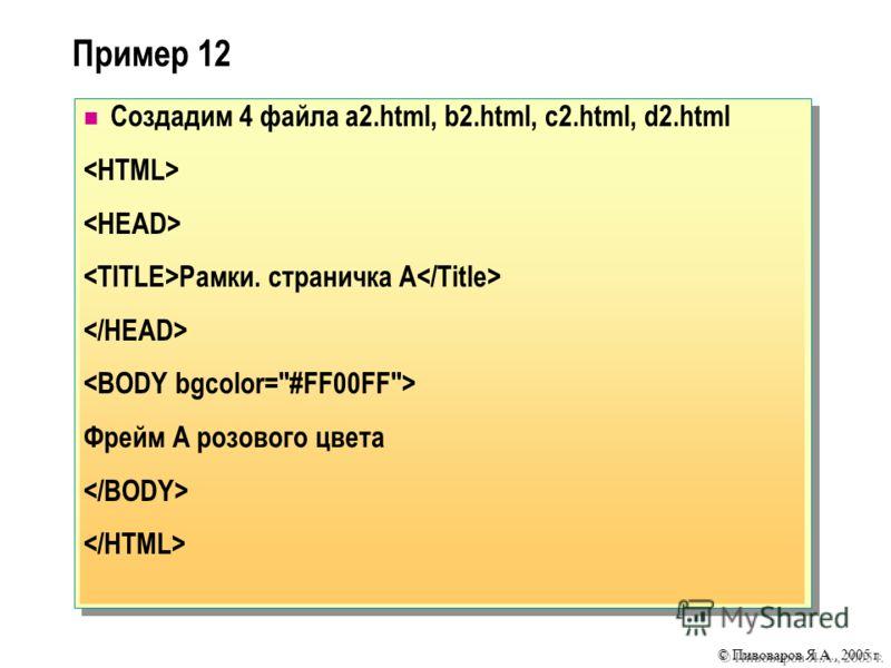 © Пивоваров Я.А., 2005 г. Пример 12 Создадим 4 файла a2.html, b2.html, c2.html, d2.html Рамки. страничка А Фрейм А розового цвета