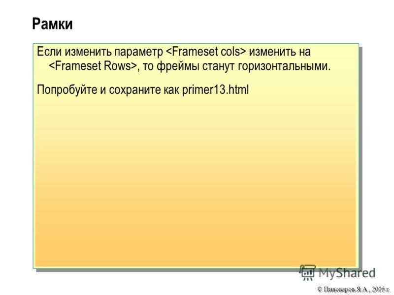 © Пивоваров Я.А., 2005 г. Рамки Если изменить параметр изменить на, то фреймы станут горизонтальными. Попробуйте и сохраните как primer13.html