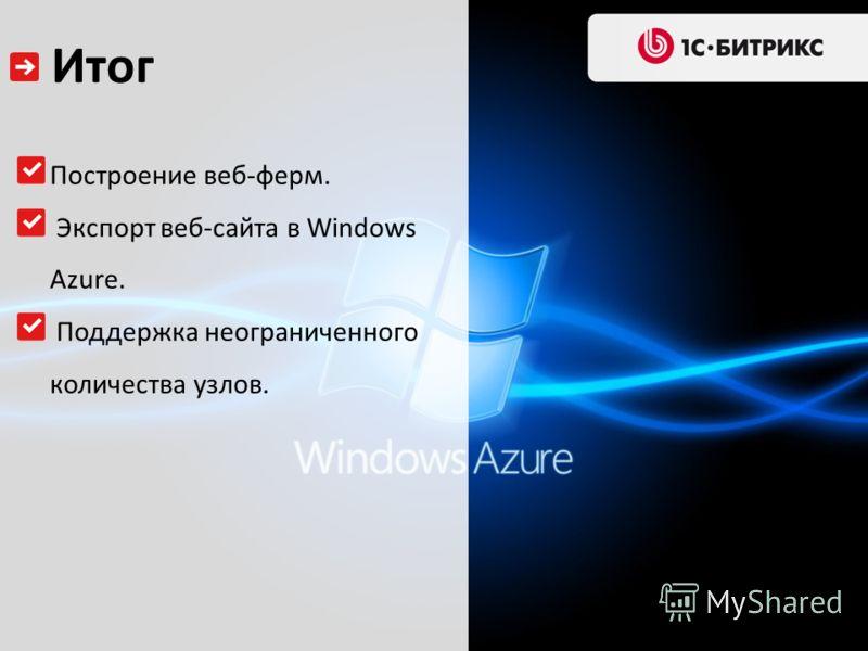Итог Построение веб-ферм. Экспорт веб-сайта в Windows Azure. Поддержка неограниченного количества узлов.