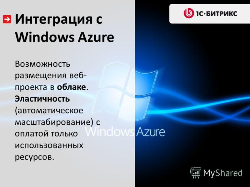 Интеграция с Windows Azure Возможность размещения веб- проекта в облаке. Эластичность (автоматическое масштабирование) с оплатой только использованных ресурсов.