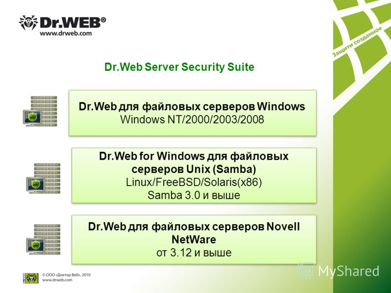 Dr.Web Server Security Suite Dr.Web для файловых серверов Windows Windows NT/2000/2003/2008 Dr.Web для файловых серверов Windows Windows NT/2000/2003/2008 Dr.Web for Windows для файловых серверов Unix (Samba) Linux/FreeBSD/Solaris(x86) Samba 3.0 и вы