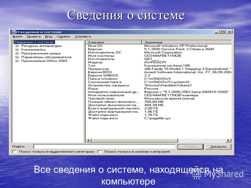 Сведения о системе Все сведения о системе, находящейся на компьютере