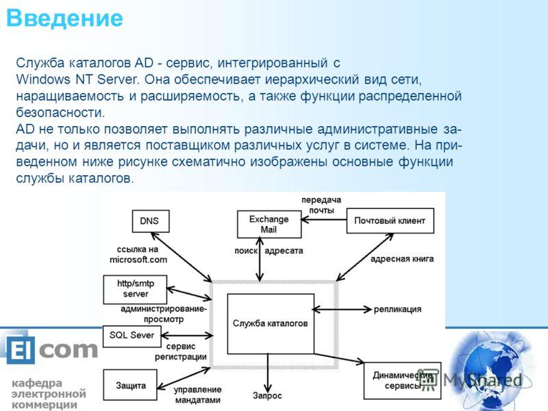 Введение Служба каталогов AD - сервис, интегрированный с Windows NT Server. Она обеспечивает иерархический вид сети, наращиваемость и расширяемость, а также функции распределенной безопасности. AD не только позволяет выполнять различные административ