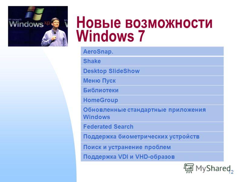 12 Новые возможности Windows 7 AeroSnap. Shake Desktop SlideShow Меню Пуск Библиотеки HomeGroup Обновленные стандартные приложения Windows Federated Search Поддержка биометрических устройств Поиск и устранение проблем Поддержка VDI и VHD-образов