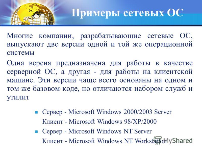 Примеры сетевых ОС Многие компании, разрабатывающие сетевые ОС, выпускают две версии одной и той же операционной системы Одна версия предназначена для работы в качестве серверной ОС, а другая - для работы на клиентской машине. Эти версии чаще всего о