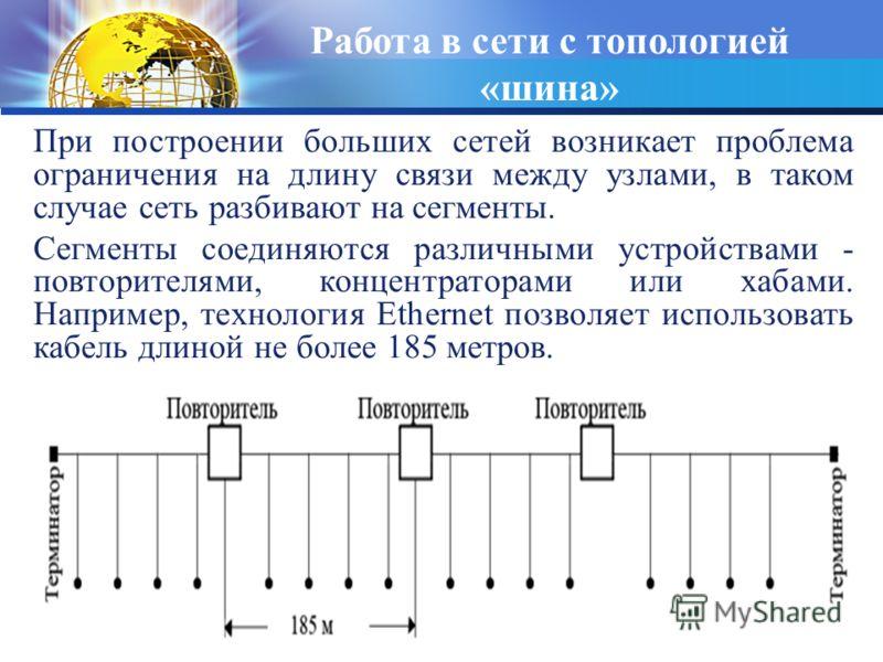Кафедра ИМПИ ЧГПУ 34 При построении больших сетей возникает проблема ограничения на длину связи между узлами, в таком случае сеть разбивают на сегменты. Сегменты соединяются различными устройствами - повторителями, концентраторами или хабами. Наприме