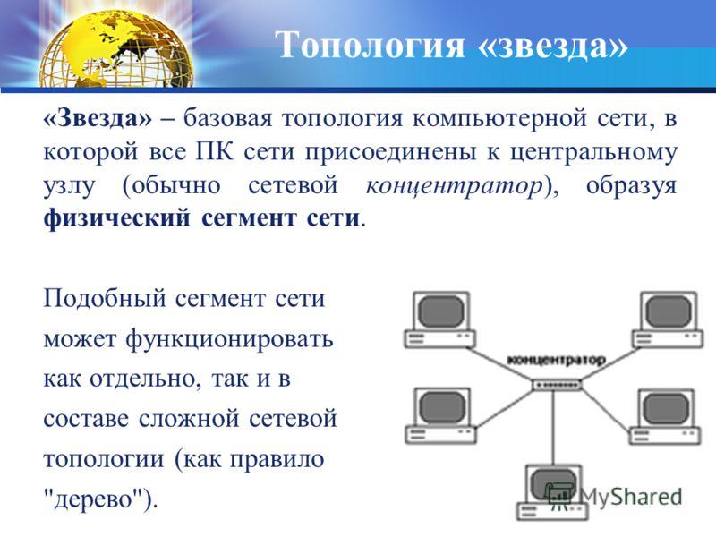 «Звезда» – базовая топология компьютерной сети, в которой все ПК сети присоединены к центральному узлу (обычно сетевой концентратор), образуя физический сегмент сети. Подобный сегмент сети может функционировать как отдельно, так и в составе сложной с