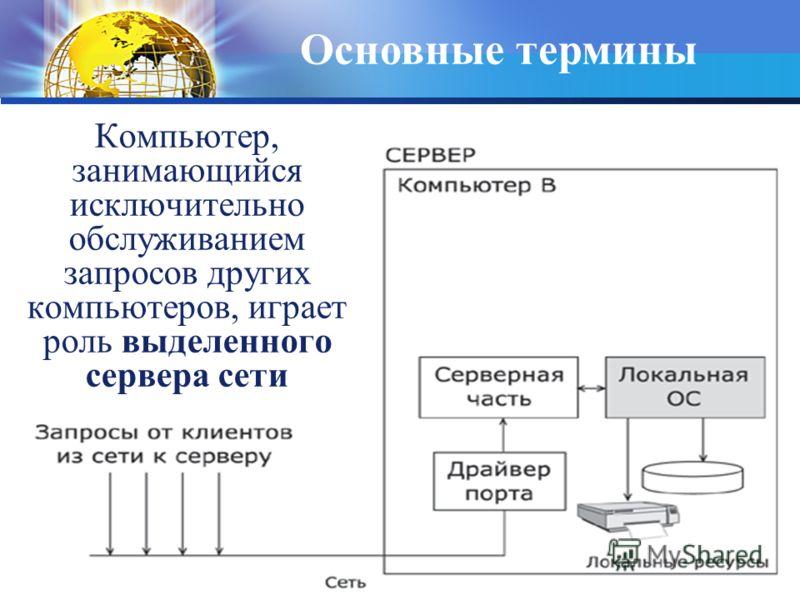 Компьютер, занимающийся исключительно обслуживанием запросов других компьютеров, играет роль выделенного сервера сети Основные термины