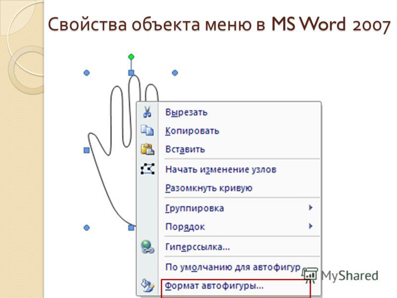 Свойства объекта меню в MS Word 2007