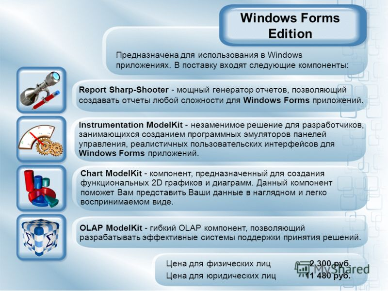 Windows Forms Edition Report Sharp-Shooter - мощный генератор отчетов, позволяющий создавать отчеты любой сложности для Windows Forms приложений. Цена для физических лиц 2 300 руб. Цена для юридических лиц 11 480 руб. Предназначена для использования