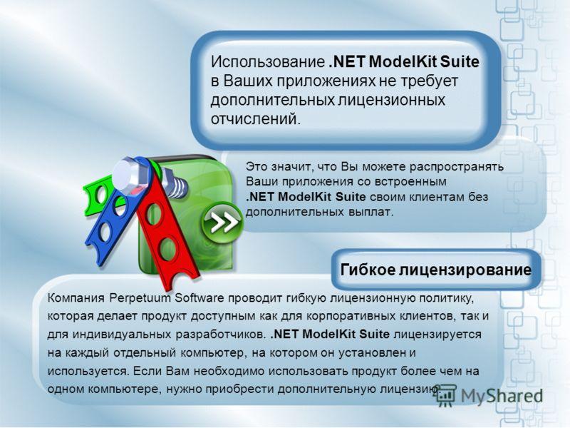 Это значит, что Вы можете распространять Ваши приложения со встроенным.NET ModelKit Suite своим клиентам без дополнительных выплат. Гибкое лицензирование Компания Perpetuum Software проводит гибкую лицензионную политику, которая делает продукт доступ
