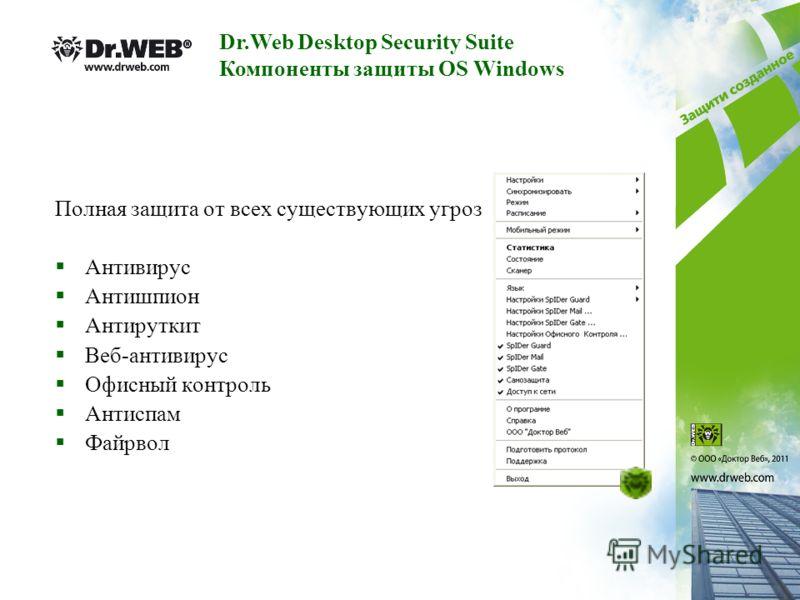 Полная защита от всех существующих угроз Антивирус Антишпион Антируткит Веб-антивирус Офисный контроль Антиспам Файрвол Dr.Web Desktop Security Suite Компоненты защиты OS Windows