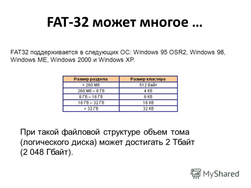 FAT-32 может многое … FAT32 поддерживается в следующих ОС: Windows 95 OSR2, Windows 98, Windows ME, Windows 2000 и Windows XP. При такой файловой структуре объем тома (логического диска) может достигать 2 Тбайт (2 048 Гбайт).