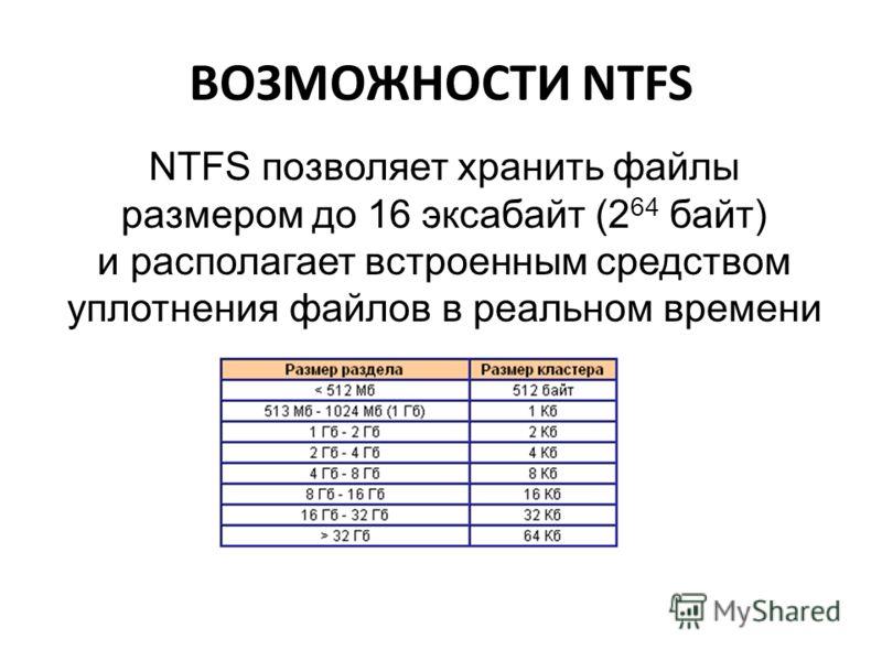 ВОЗМОЖНОСТИ NTFS NTFS позволяет хранить файлы размером до 16 эксабайт (2 64 байт) и располагает встроенным средством уплотнения файлов в реальном времени