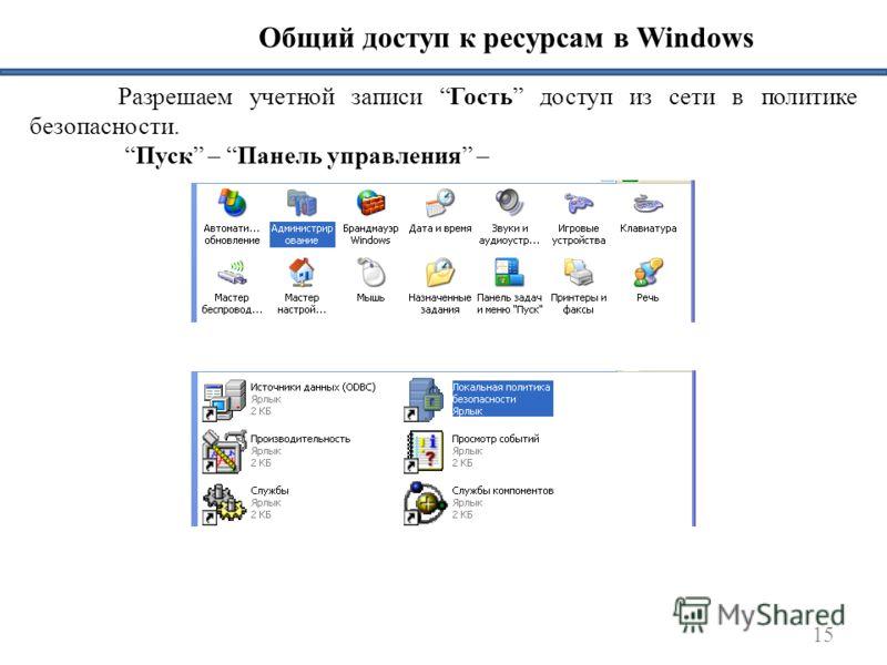 15 Общий доступ к ресурсам в Windows Разрешаем учетной записи Гость доступ из сети в политике безопасности. Пуск – Панель управления –