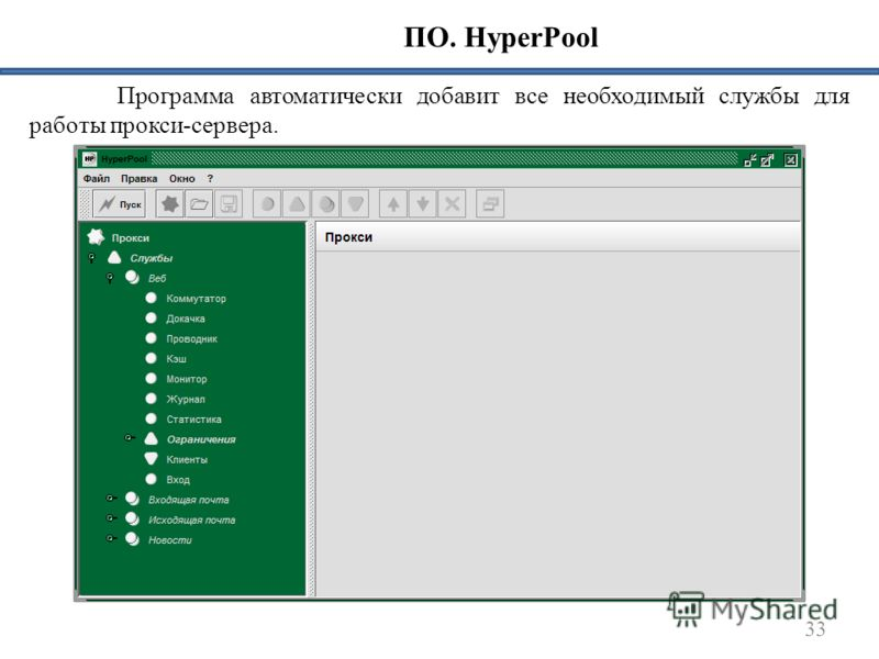 33 ПО. HyperPool Программа автоматически добавит все необходимый службы для работы прокси-сервера.
