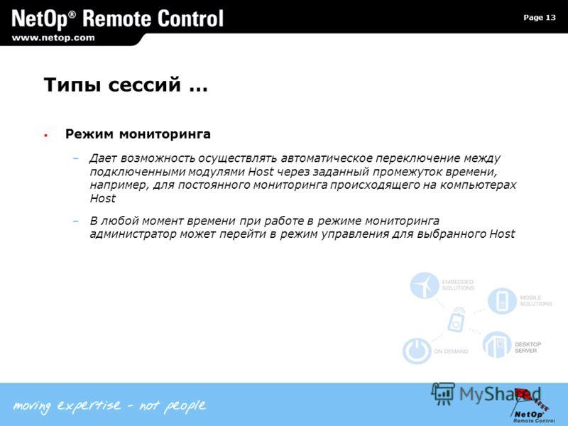 Page 13 Типы сессий … Режим мониторинга –Дает возможность осуществлять автоматическое переключение между подключенными модулями Host через заданный промежуток времени, например, для постоянного мониторинга происходящего на компьютерах Host –В любой м