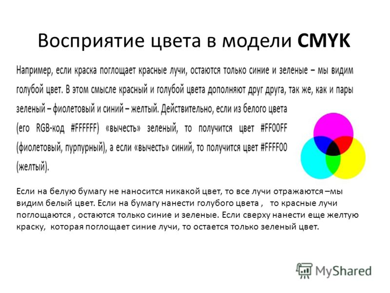 Восприятие цвета в модели CMYK Если на белую бумагу не наносится никакой цвет, то все лучи отражаются –мы видим белый цвет. Если на бумагу нанести голубого цвета, то красные лучи поглощаются, остаются только синие и зеленые. Если сверху нанести еще ж
