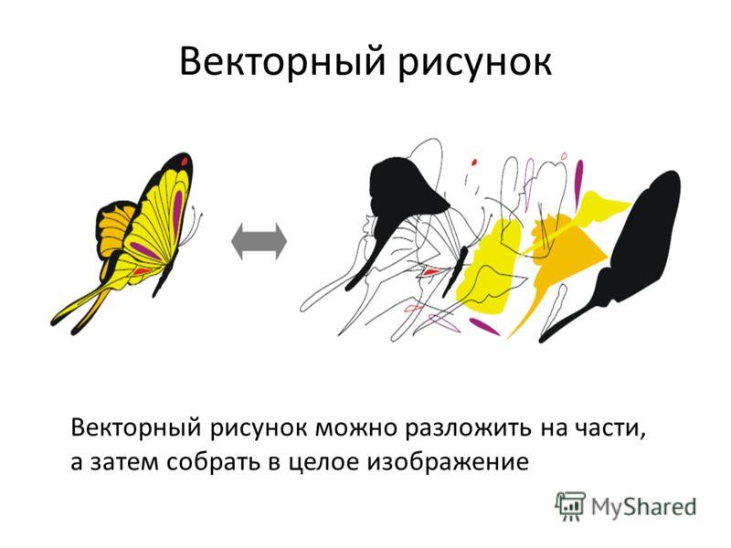 Векторный рисунок Векторный рисунок можно разложить на части, а затем собрать в целое изображение