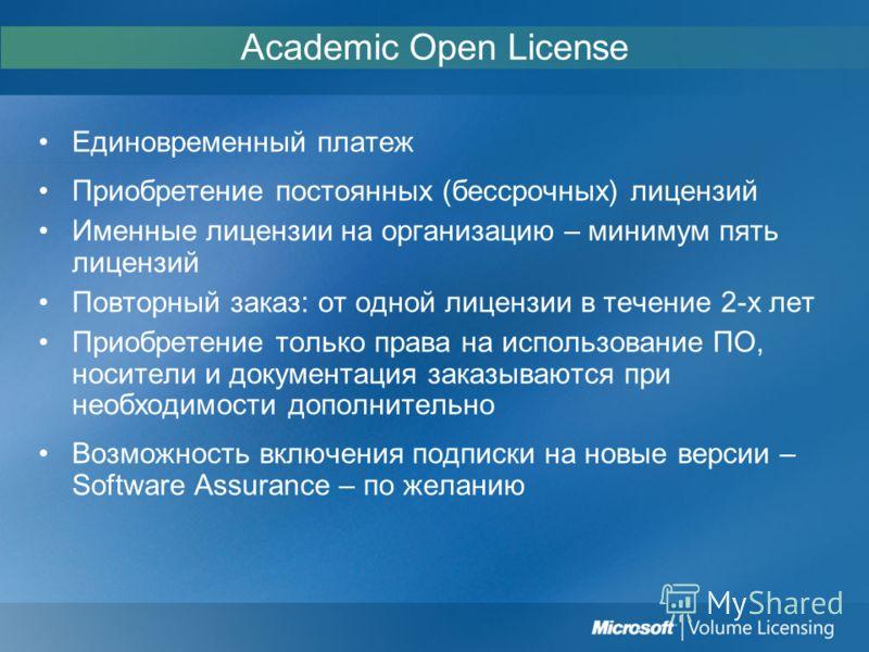 Academic Open License Единовременный платеж Приобретение постоянных (бессрочных) лицензий Именные лицензии на организацию – минимум пять лицензий Повторный заказ: от одной лицензии в течение 2-х лет Приобретение только права на использование ПО, носи