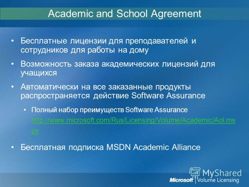 Academic and School Agreement Бесплатные лицензии для преподавателей и сотрудников для работы на дому Возможность заказа академических лицензий для учащихся Автоматически на все заказанные продукты распространяется действие Software Assurance Полный