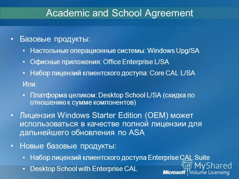 Academic and School Agreement Базовые продукты: Настольные операционные системы: Windows Upg/SA Офисные приложения: Office Enterprise L/SA Набор лицензий клиентского доступа: Core CAL L/SA Или: Платформа целиком: Desktop School L/SA (скидка по отноше