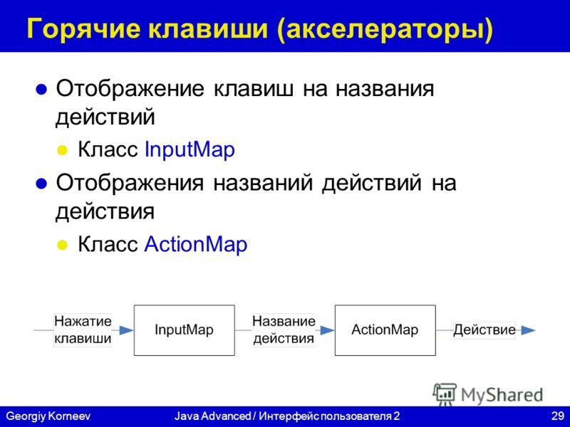 29Georgiy KorneevJava Advanced / Интерфейс пользователя 2 Горячие клавиши (акселераторы) Отображение клавиш на названия действий Класс InputMap Отображения названий действий на действия Класс ActionMap