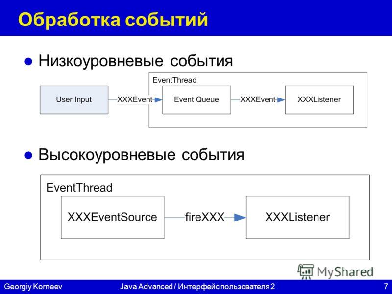 7Georgiy KorneevJava Advanced / Интерфейс пользователя 2 Обработка событий Низкоуровневые события Высокоуровневые события