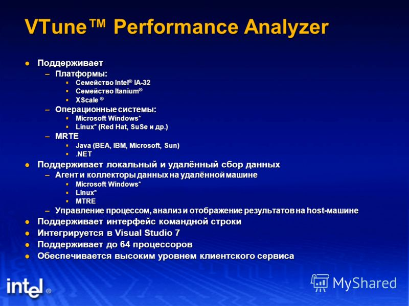 VTune Performance Analyzer Поддерживает Поддерживает –Платформы: Семейство Intel ® IA-32 Семейство Intel ® IA-32 Семейство Itanium ® Семейство Itanium ® XScale ® XScale ® –Операционные системы: Microsoft Windows* Microsoft Windows* Linux* (Red Hat, S