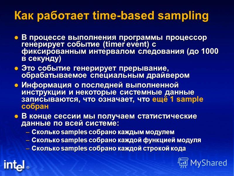 Как работает time-based sampling В процессе выполнения программы процессор генерирует событие (timer event) с фиксированным интервалом следования (до 1000 в секунду) В процессе выполнения программы процессор генерирует событие (timer event) с фиксиро