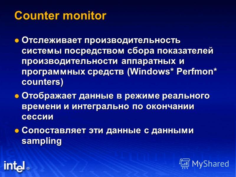 Counter monitor Отслеживает производительность системы посредством сбора показателей производительности аппаратных и программных средств (Windows* Perfmon* counters) Отслеживает производительность системы посредством сбора показателей производительно