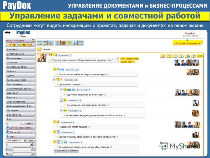 Сотрудники могут видеть информацию о проектах, задачах и документах на одном экране Управление задачами и совместной работой
