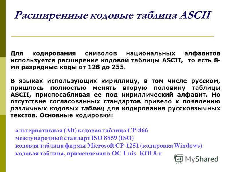 Расширенные кодовые таблица ASCII Для кодирования символов национальных алфавитов используется расширение кодовой таблицы ASCII, то есть 8- ми разрядные коды от 128 до 255. В языках использующих кириллицу, в том числе русском, пришлось полностью меня