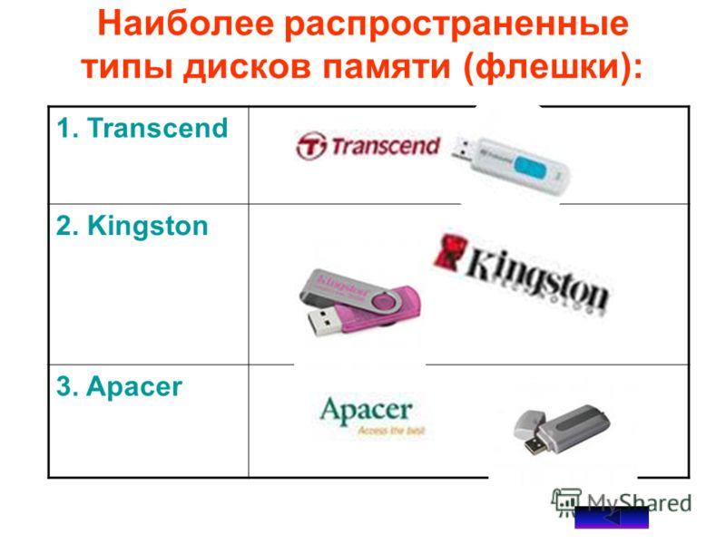 Наиболее распространенные типы дисков памяти (флешки): 1. Transcend 2. Kingston 3. Apacer