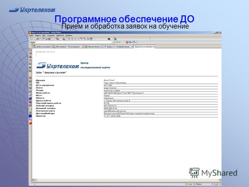 Программное обеспечение ДО Прием и обработка заявок на обучение