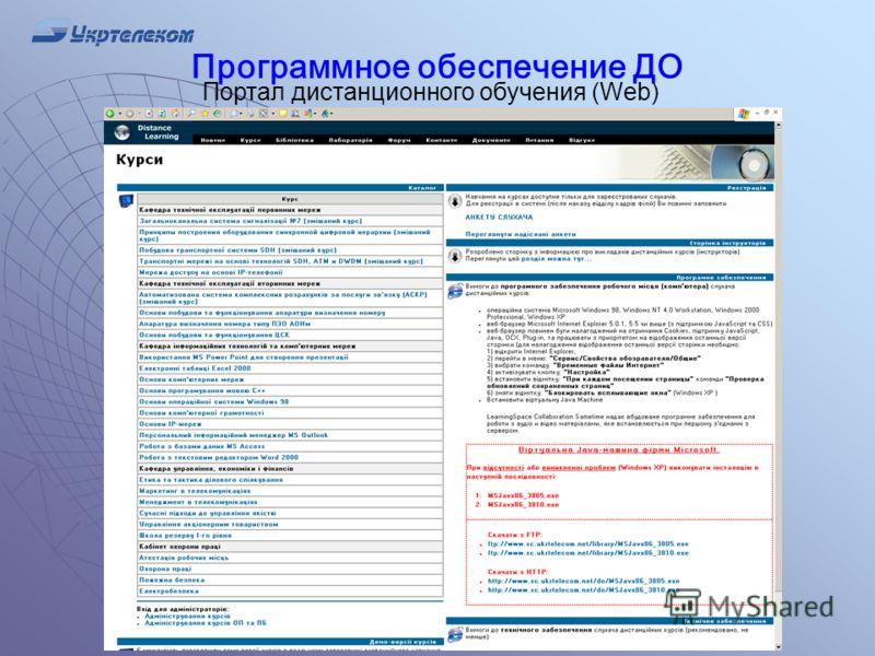Программное обеспечение ДО Портал дистанционного обучения (Web)