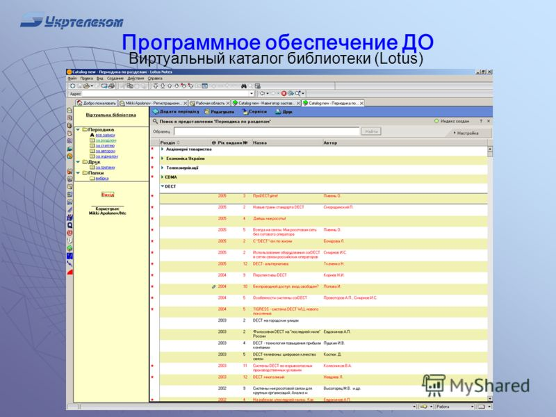Программное обеспечение ДО Виртуальный каталог библиотеки (Lotus)