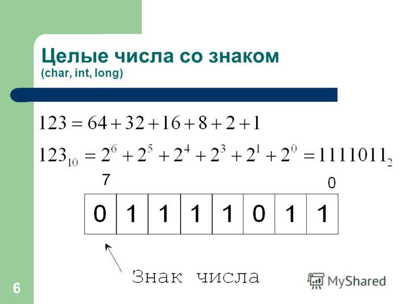 6 Целые числа со знаком (char, int, long)