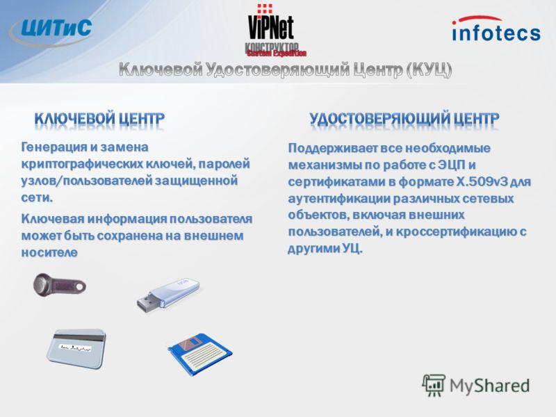 Поддерживает все необходимые механизмы по работе с ЭЦП и сертификатами в формате X.509v3 для аутентификации различных сетевых объектов, включая внешних пользователей, и кроссертификацию с другими УЦ. Генерация и замена криптографических ключей, парол
