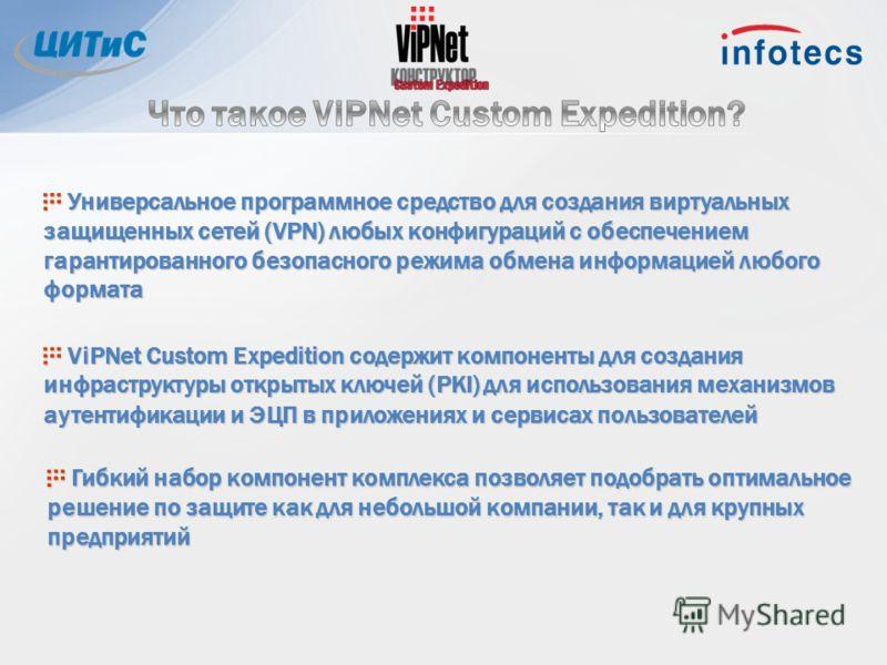 Универсальное программное средство для создания виртуальных защищенных сетей (VPN) любых конфигураций с обеспечением гарантированного безопасного режима обмена информацией любого формата Универсальное программное средство для создания виртуальных защ