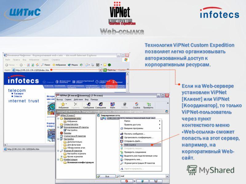 Если на Web-сервере установлен ViPNet [Клиент] или ViPNet [Координатор], то только ViPNet-пользователь через пункт контекстного меню «Web-ссылка» сможет попасть на этот сервер, например, на корпоративный Web- сайт. Технология ViPNet Custom Expedition